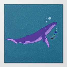 Electric Whales in a Polka Dot Sea Canvas Print