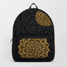 """Black & Gold Arabesque Mandala"" Backpack"