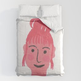 """Vicky"" girl with bun and rosy cheeks Comforters"