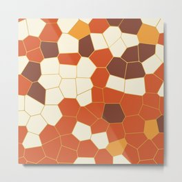 Hexagon Abstract Orange_Cream Metal Print