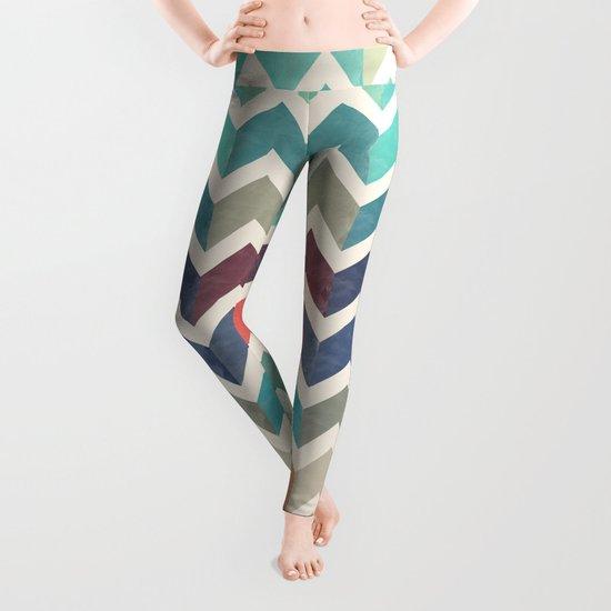 Watercolor Chevron Pattern Leggings