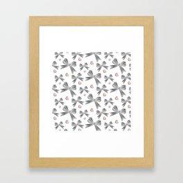 Pink bow heart Framed Art Print