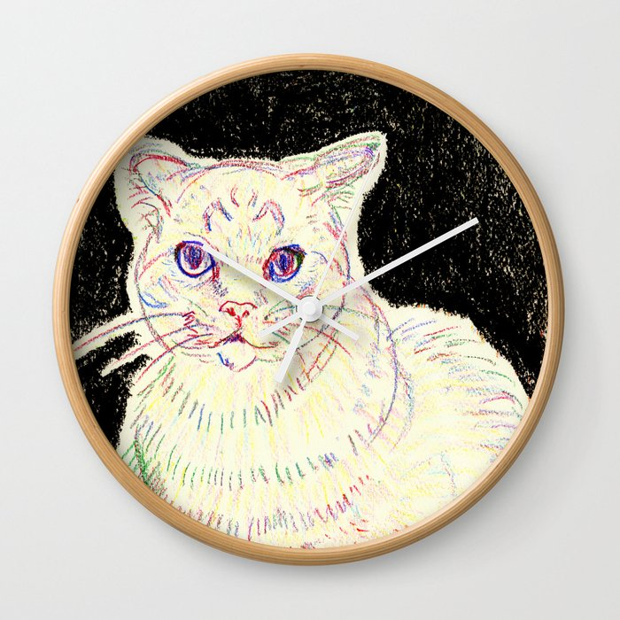crayon cat Wall Clock