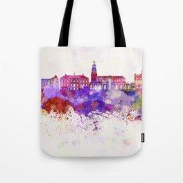 Groningen skyline in watercolor background Tote Bag
