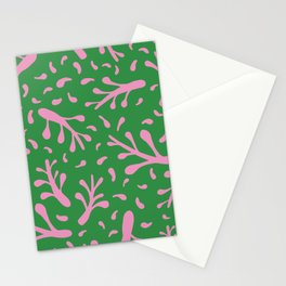 Branches and leaves - green and pink colors Stationery Cards