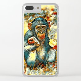 AnimalArt_Chimpanzee_20170603_by_JAMColorsSpecial Clear iPhone Case