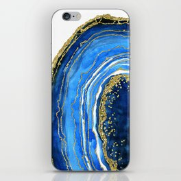 Cobalt blue and gold geode in watercolor (2) iPhone Skin