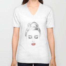 Minimalist fashion illustration model face Unisex V-Neck