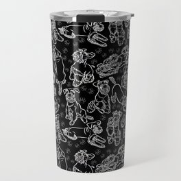 Schnauzer Sketch White on Black Travel Mug
