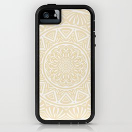Pale Yellow Simple Simplistic Mandala Design Ethnic Tribal Pattern iPhone Case