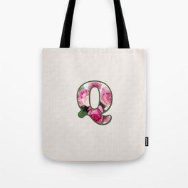Letter Q Rose Monogram Tote Bag