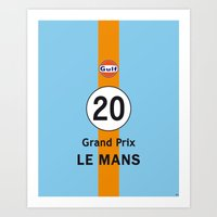 steve mcqueen Art Prints featuring Steve McQueen - Le Mans Vintage Print Poster Decoration by CHR Design Posters