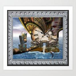 Steampunk Ocean Dragon Library Art Print