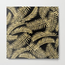 Palm Leaf Pattern Gold And Black Metal Print