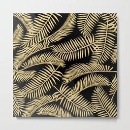 Palm Leaf Pattern Gold And Black Metal Print