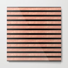 Rose Gold Stripes on Black Metal Print