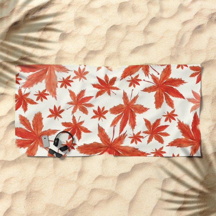 red maple leaves pattern Beach Towel