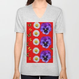 PURPLE PANSIES, WHITE DAISIES, MONARCH BUTTERFLIES RED ART Unisex V-Neck