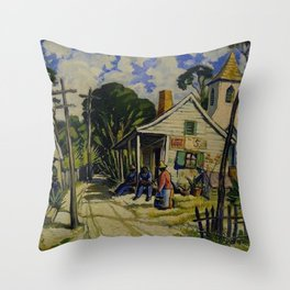 African American Portrait 'Street Scene, Eatonville, FLA' by J. Andre Smith Throw Pillow