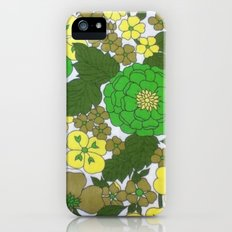 Retro floral sheets greens iPhone (5, 5s) Slim Case