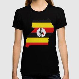 Uganda Map with Ugandan Flag T-shirt