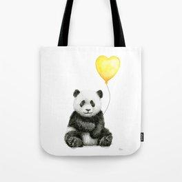 Panda with Yellow Balloon Baby Animal Watercolor Nursery Art Tote Bag