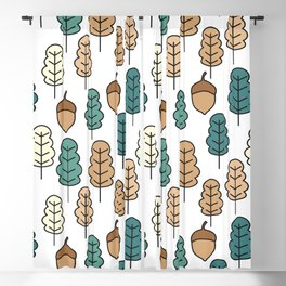 cute pattern illustration with acorns and autumn oak leaves Blackout Curtain