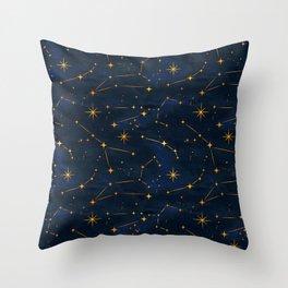 Classic Blue Indigo Shining Stars in Dark Night Artwork Throw Pillow