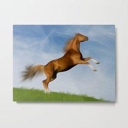Jumping Wild Horse Metal Print