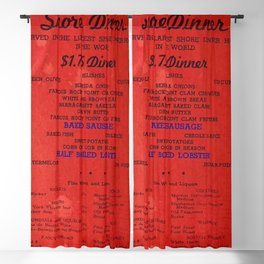 1906 Rocky Point Amusement Park Shore Dinner Hall New England Claim Bake Menu, Warwick, Rhode Island Blackout Curtain