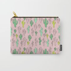 Green & Yellow Cactus on Pink Carry-All Pouch
