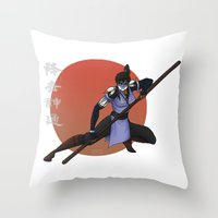 fierce Throw Pillows featuring Fierce by KaiAyame