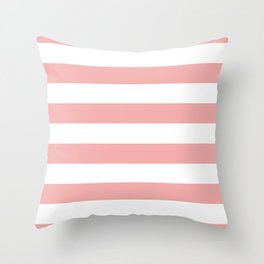 Large Blush Pink and White Cabana Tent Stripes Throw Pillow