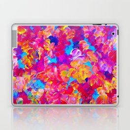 FLORAL FANTASY Bold Abstract Flowers Acrylic Textural Painting Neon Pink Turquoise Feminine Art Laptop & iPad Skin