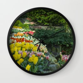Technicolor Tulips Wall Clock