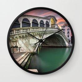 Historic Ponte De Rialto Bridge Grand Canal Venice Italy Europe At Romantic Sunset Ultra HD Wall Clock