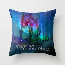Stay Wild Desert Aurora Throw Pillow