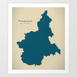 Modern Map - Piemonte region Italy Art Print