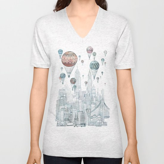 Voyages Over New York Unisex V-Neck