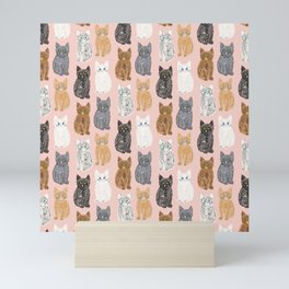Scribble Kittens on Blush Pink Mini Art Print