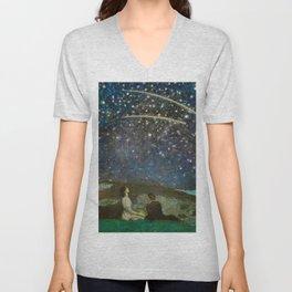 Shooting Stars, Summer Night by the Sea, Watch Hill, Rhode Island landscape by Franz Von Stuck Unisex V-Neck