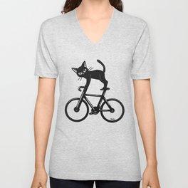 Cat loves a bike Unisex V-Neck
