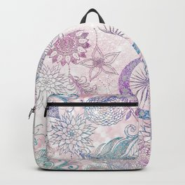 Magical Iridescent Glitter Feathers Dreamcatcher Backpack