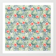 Tropical Tribal Hibiscus Floral Art Print