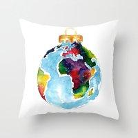 globe Throw Pillows featuring Globe Bauble by Bridget Davidson