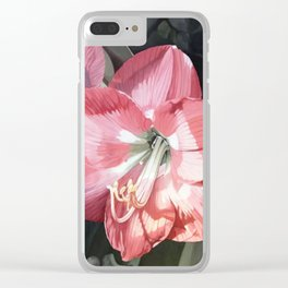 Pink Amaryllis Watercolor Botanical Garden Flower Painting Nature Art Clear iPhone Case
