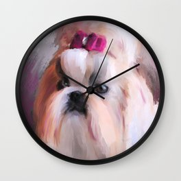 Little Girl Shih Tzu Wall Clock