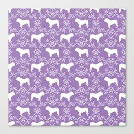 English Bulldog silhouette florals purple and white minimal dog breed pattern print gifts bulldogs Canvas Print