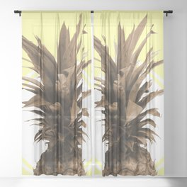 Pineapple Print - Tropical Poster - Botanical Print - Pineapple Wall Art - Yellow, Golden - Minimal Sheer Curtain