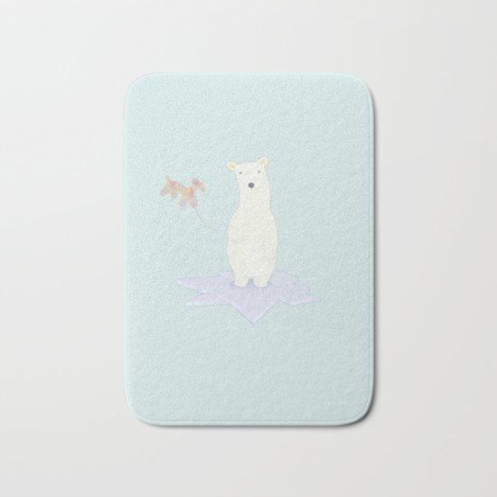 Polar bears love balloons Bath Mat